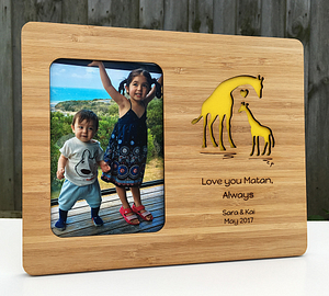 Custom Love Giraffe Photo Frame 10x8 Bamboo Wood